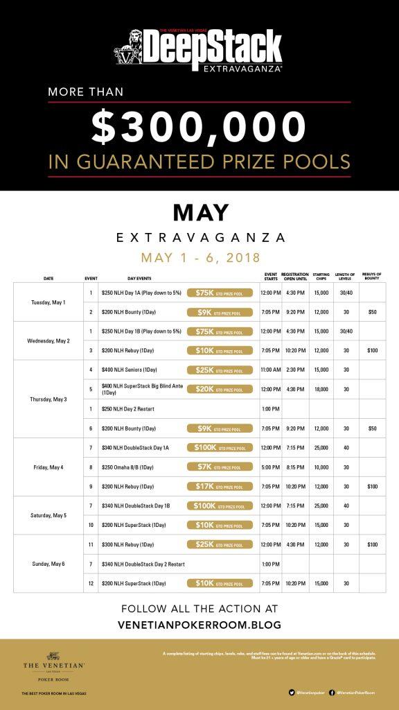 Venetian poker tournament schedule 2016